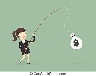mujer de negocios, gracioso, dinero, pesca, rod.