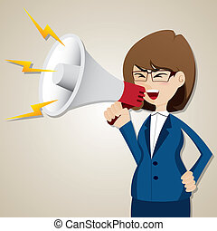 mujer de negocios, grito, megáfono, caricatura, afuera