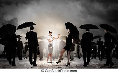mujer de negocios, grupo, venda, gente