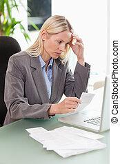mujer de negocios, hacer, contabilidad