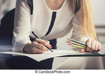 mujer de negocios, hacer, papeleo
