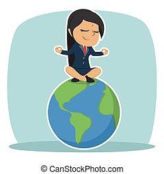 mujer de negocios, indio, meditar, tierra