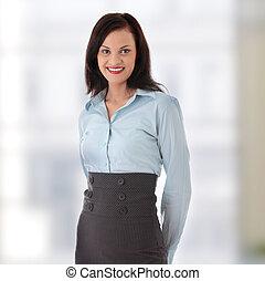mujer de negocios, joven, feliz