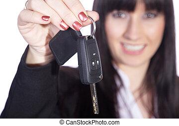 mujer de negocios, llave, da