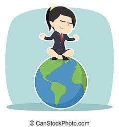 mujer de negocios, meditar, tierra