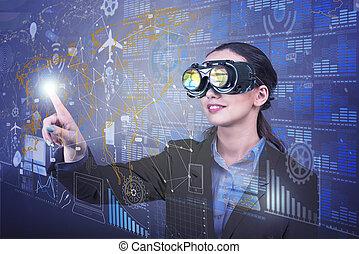 mujer de negocios, minería, concepto, datos