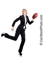 mujer de negocios, mujer americana, fútbol