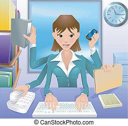mujer de negocios, multitáreas, ilustración