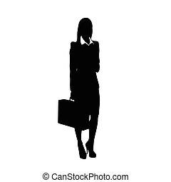 mujer de negocios, negro, silueta, asimiento, maletín