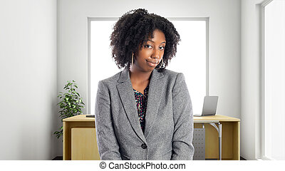 mujer de negocios, norteamericano, africano, oficina, tímido