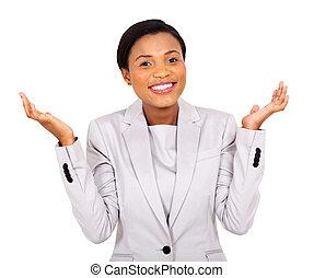mujer de negocios, norteamericano, feliz, africano