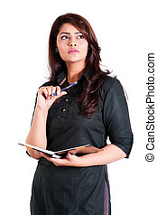 mujer de negocios, nota, confiado, indio, tenencia, libro