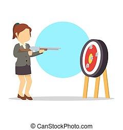 mujer de negocios, objetivo que dispara