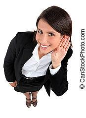 mujer de negocios, oreja, mano