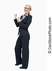 mujer de negocios, orgulloso, aplausos