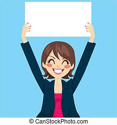 mujer de negocios, panel blanco, tenencia