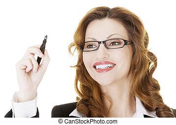 mujer de negocios, pantalla, algo, resumen, escritura