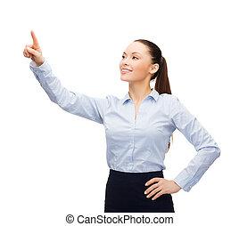 mujer de negocios, pantalla, joven, trabajando, virtual
