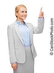 mujer de negocios, pantalla, virtual, trabajando, sonriente