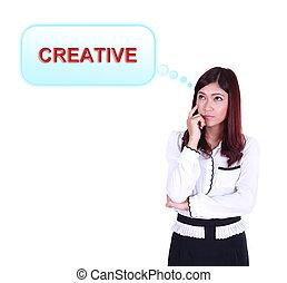 mujer de negocios, pensamiento, sobre, creativo