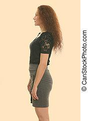 mujer de negocios, perfil, posición, vista