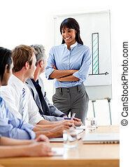 mujer de negocios, presentación, equipo, seguro, ella