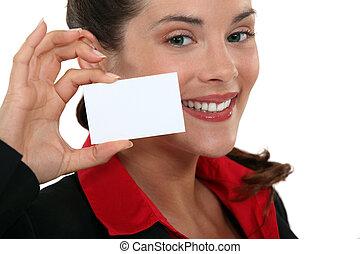 mujer de negocios, presentación, tarjeta