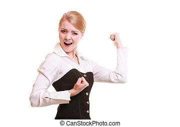 mujer de negocios, promoción, work., éxito, celebrar