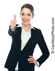 mujer de negocios, pulgar up