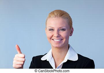 mujer de negocios, pulgares arriba