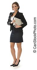 mujer de negocios que está de pie, blanco