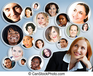 mujer de negocios, red,  social