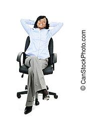 mujer de negocios, relajado, silla, oficina, sentado