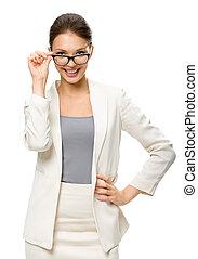 mujer de negocios, retrato de medio cuerpo, anteojos, ...
