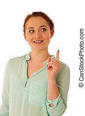 mujer de negocios, señalar con el dedo hacerlo/serlo, espacio de copia, mientras, presentación, un, producto, en, comercial, -, teniendo, nueva idea