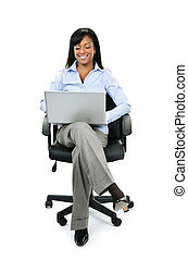 mujer de negocios, se sentar en la oficina, silla, con, computadora