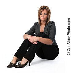 mujer de negocios, sentado
