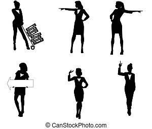 mujer de negocios, siluetas, seis