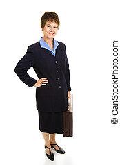 mujer de negocios, sonriente, bastante