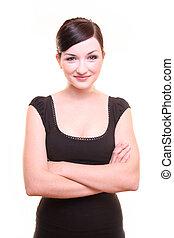 mujer de negocios, sonriente, con, armamentos cruzaron, blanco