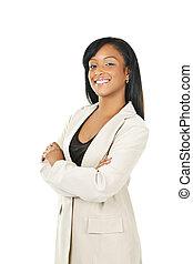 mujer de negocios, sonriente, negro, armamentos cruzaron