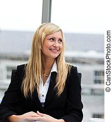 mujer de negocios, sonriente, reunión