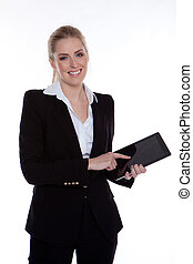 mujer de negocios, tableta, utilizar