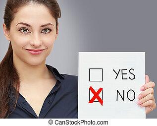 mujer de negocios, tenencia, blanco, y, votación, para, no, en, opción