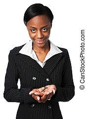 mujer de negocios, tenencia, llave