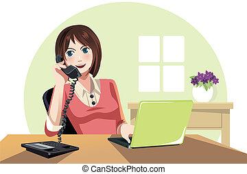 mujer de negocios, trabajando, en, la oficina