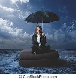 mujer de negocios, trabajo, problemas