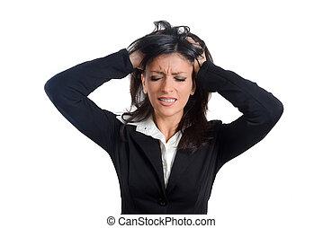 mujer de negocios, traje, joven, frustration., enfatizado, ...