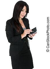 mujer de negocios, utilizar, un, pda