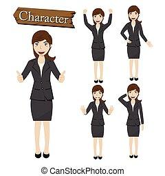 mujer de negocios, vector, conjunto, ilustración, carácter